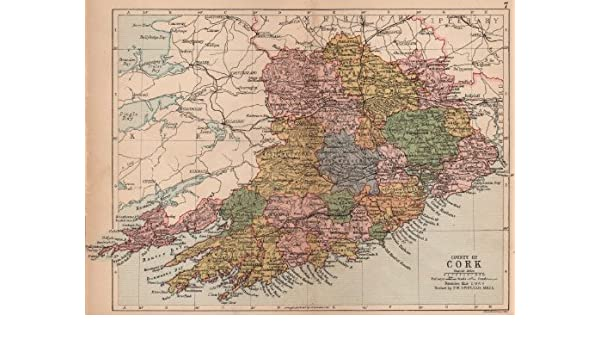 Antique county map. Munster. Ireland. BARTHOLOMEW - 1882 - old map - antique map - vintage map - printed maps of Ireland: Home & Kitchen