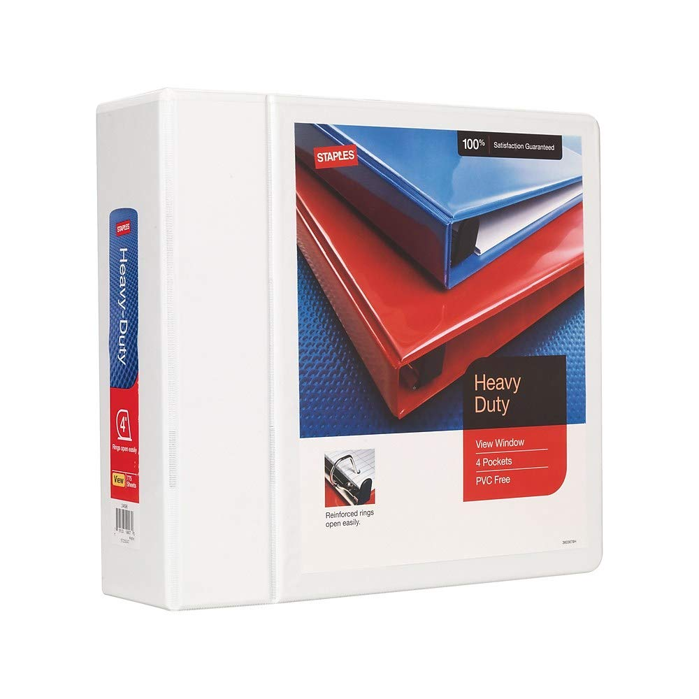 Staples 82663 Heavy Duty 4' 3-Ring View Binder White (24696)