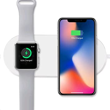 Sararoom Cargador Inalámbrico, 2 en 1 Cargador Inalámbrico Rápido 10w para iPhone X, Reloj Apple Series2,3, Samsung Galaxy S6 S6 Edge S7 S7 Edge