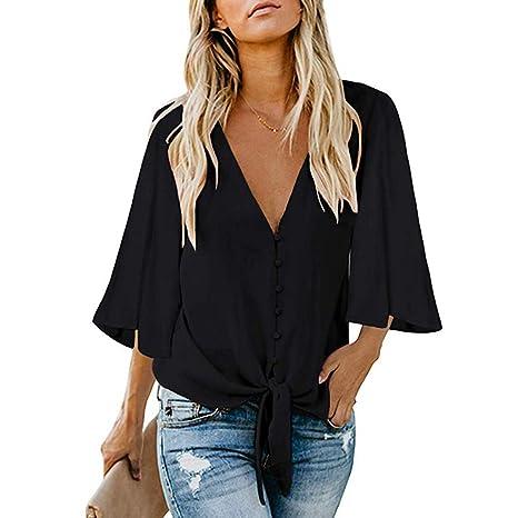 Weant blusa casual de manga larga 3/4 con botones y cuello en V y ...
