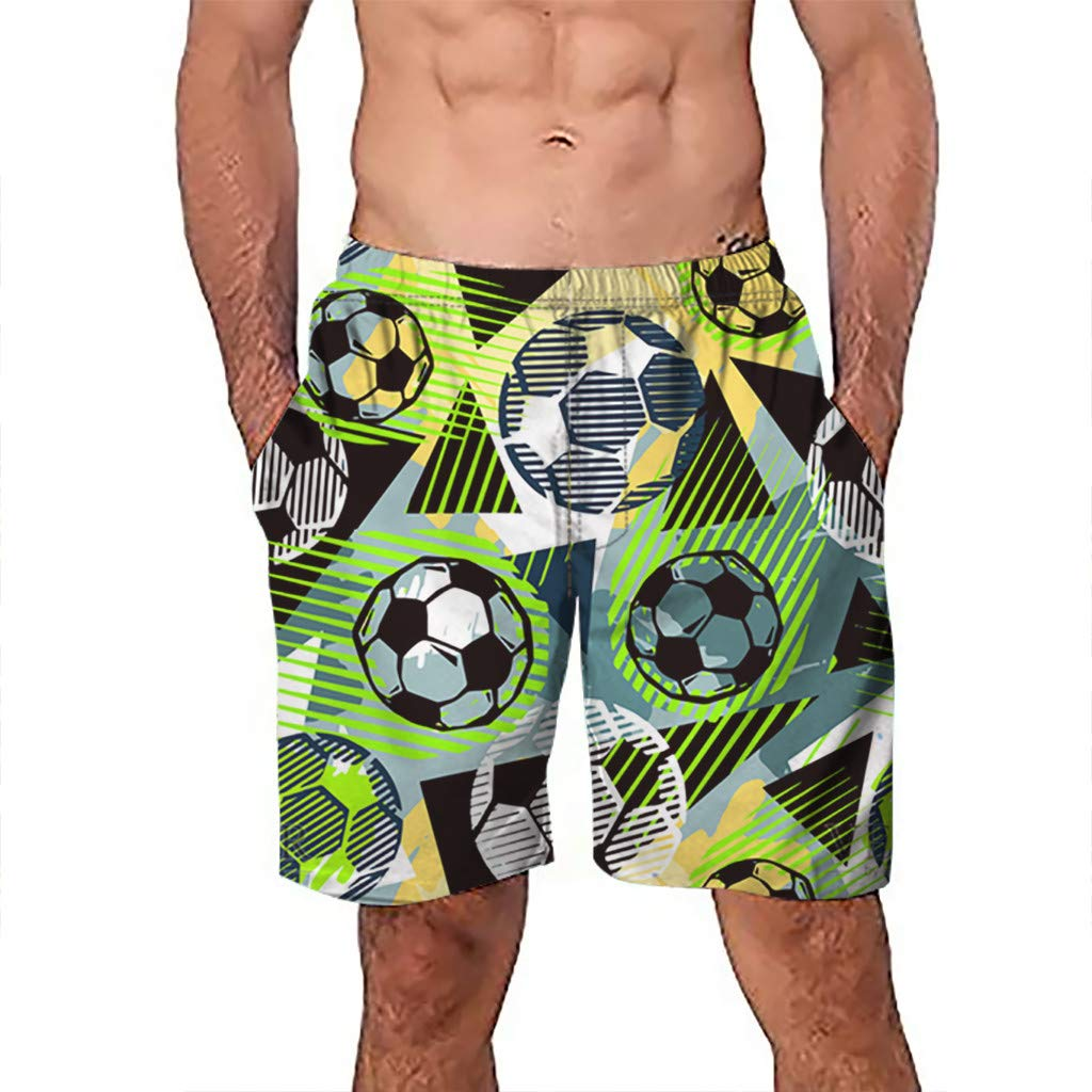 NUWFOR Men Casual 3D Graffiti Printed Beach Work Casual Men Short Trouser Shorts Pants(Multi Color,US:S Waist7.6-31.5'')