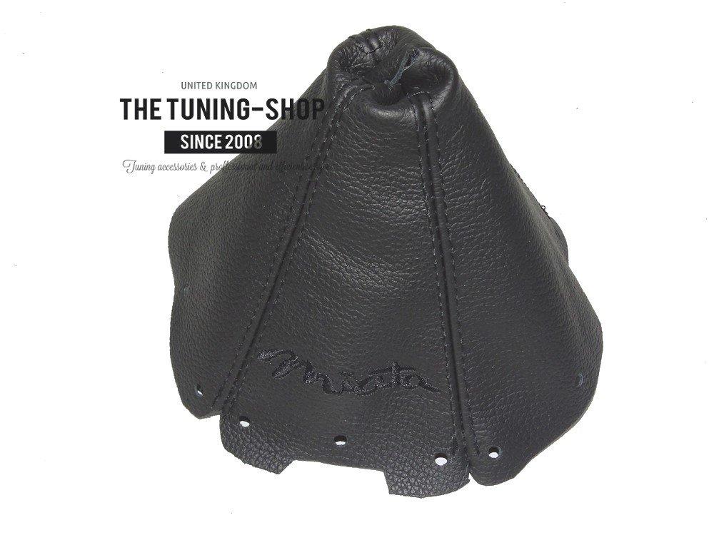 Gear Stick Gaiter Black Leather Miata Black Embroidery