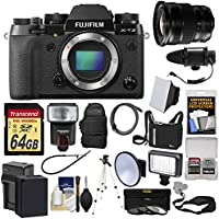 Fujifilm X-T2 4K Wi-Fi Digital Camera Body with 10-24mm f/4.0 Lens + 64GB Card + Backpack + Flash + Video Light + Battery + Kit