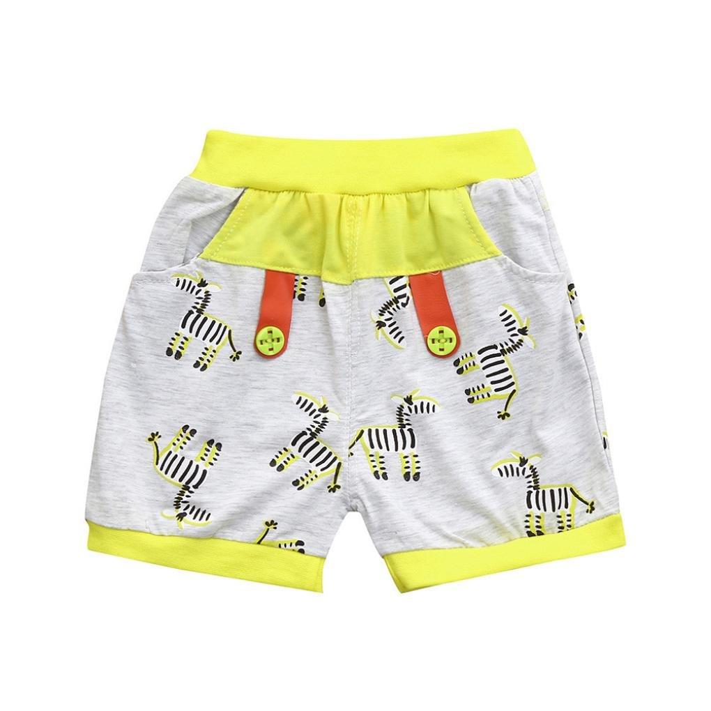 Ankola Children Summer Cartoon Zebra Print Shorts Toddler Kid Baby Boys Summer Casual Cotton Blend Shorts Pants with Pockets (Yellow, 6M) by Ankola (Image #1)