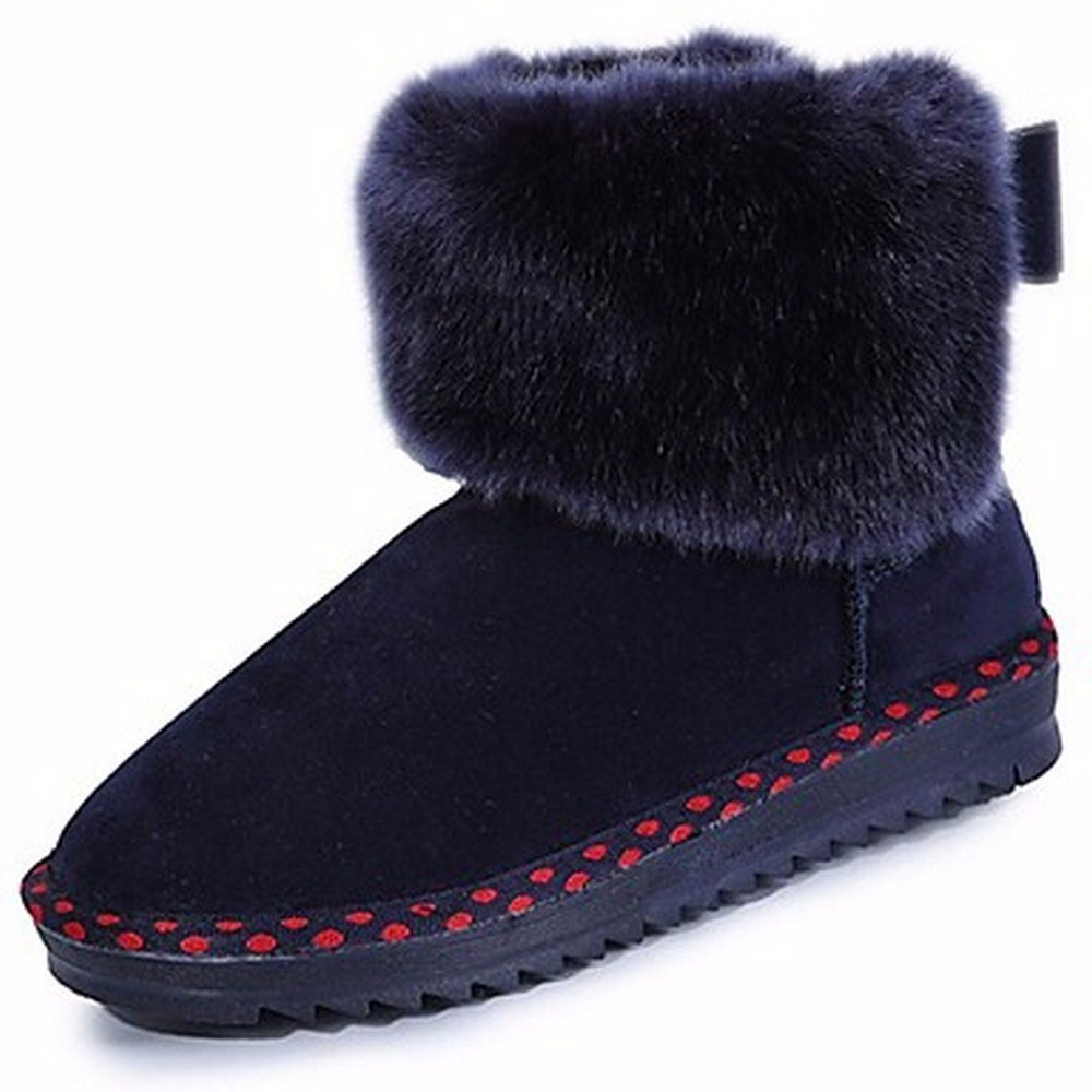 ZHUDJ Scarpe Donna Winter Snow stivali Stivali Tacco Piatto Piatto Piatto Punta Tonda per Esterni di colore Grigio Scuro Nero Blu 5d08d6