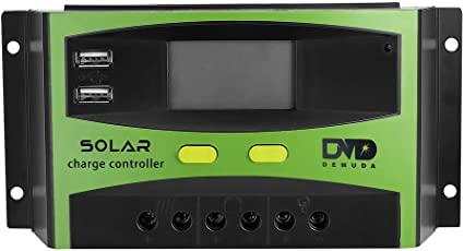 Controlador de carga solar, batería de panel solar con regulador inteligente, puerto USB, pantalla LCD, múltiple protección, 30A: Amazon.es: Jardín