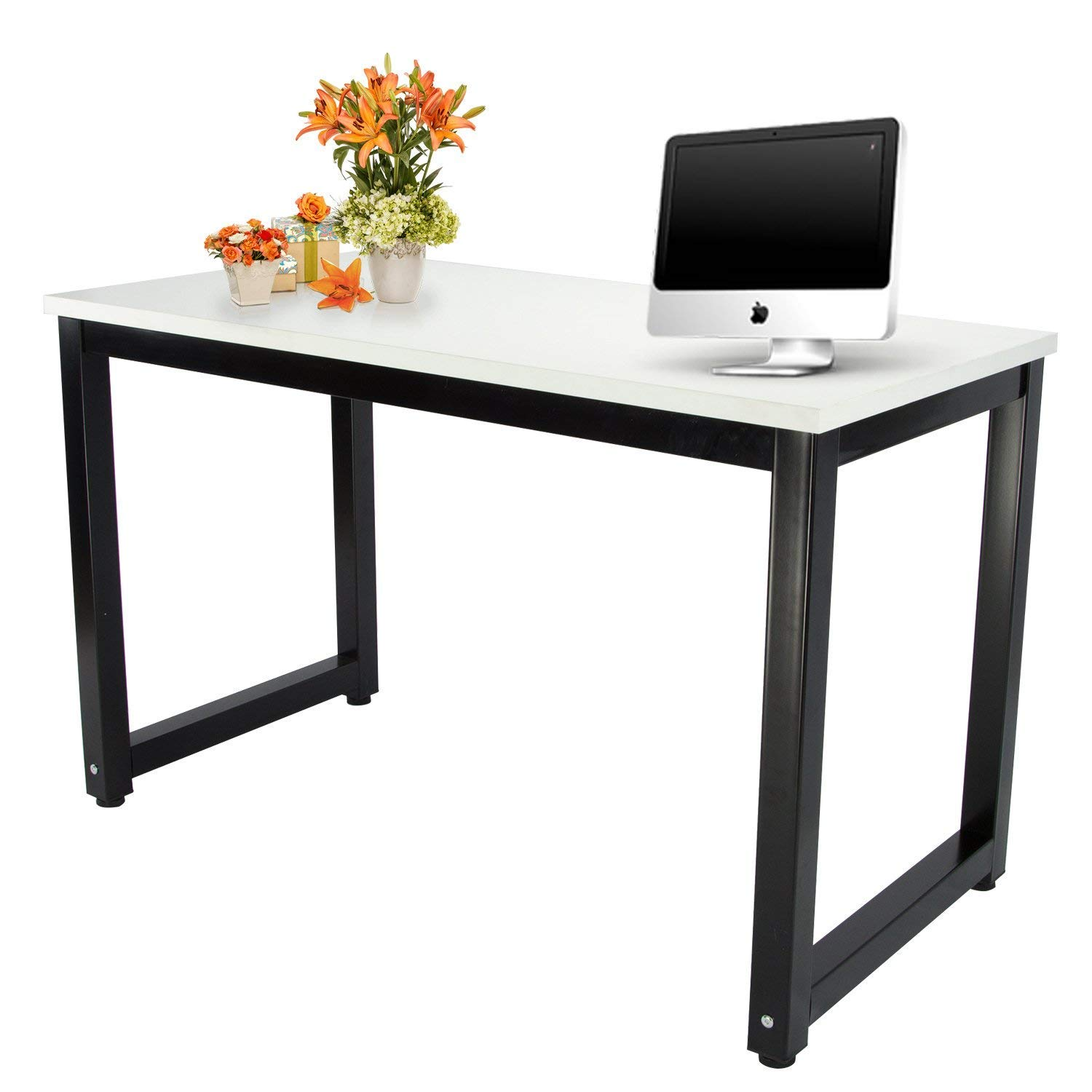 Computer Office Desk Easy Assembly Modern Simple Style Dining Table Study Writing Desk for Home and Professional Use (Metal Ivory White Black Legs)