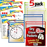 iPrimio Dry Erase Learning Sheets (5 Pack) - Includes 12 Learning Sheets - Multicolored Pockets - Wipes Clean - Fits 9'' by 12'' Paper in Pocket
