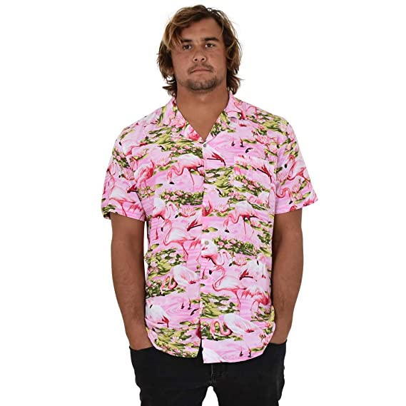 154eb7e6cc855 Island Style Clothing Mens Hawaiian Shirts Flamingo Floral Tropical Party  Prints (Small