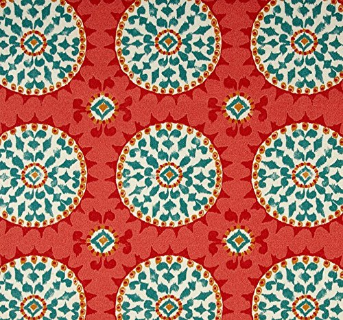 Indoor / Outdoor Fabric by the Yard - Waverly Dena Designs Johara Watermelon - Red Coral Turquoise Sundial (Sundial Design)