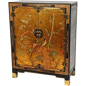 Oriental Furniture Gold Leaf Nestling Birds Cabinet