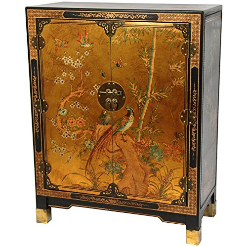 Oriental Furniture Gold Leaf Nestling Birds Cabinet - Oriental Furniture Cabinets