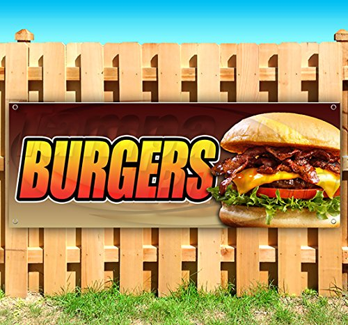 - Burgers 13 oz Heavy Duty Vinyl Banner Sign with Metal Grommets, New, Store, Advertising, Flag, (Many Sizes Available)