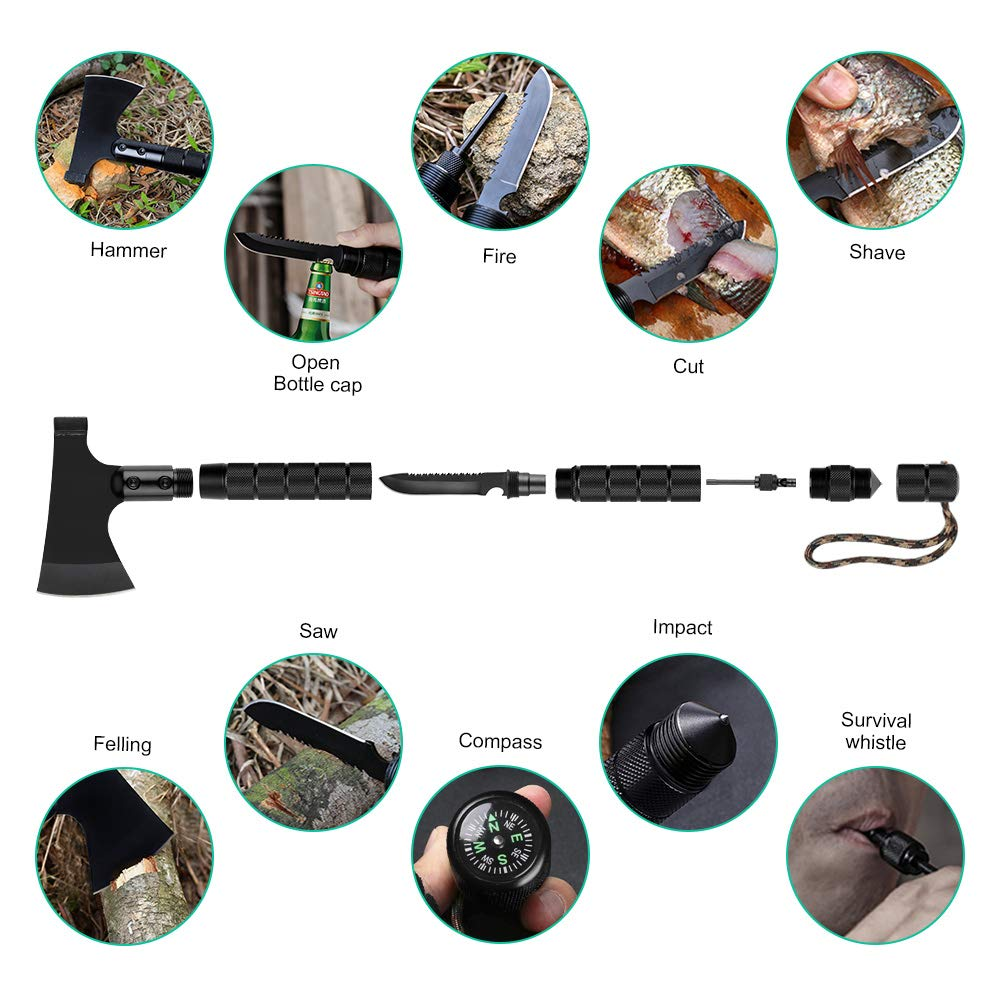 LIANTRAL Survival Axe Folding Portable Camping Axe Multi-Tool Hatchet Survival Kit Tactical Tomahawk for Outdoor Hiking Hunting by LIANTRAL (Image #3)