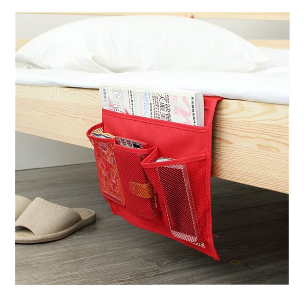 Rosso Cellulare dispositivi elettronici TRIXES Tasca portaoggetti applicabile sotto Il Materasso Contenitore per Telecomando TV 4 Scomparti in Mesh
