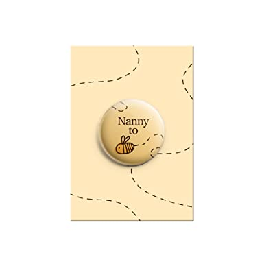 Nanny To Be Bumble Bee Cute Baby Shower Announcement Gift Button Pin Badge  38mm