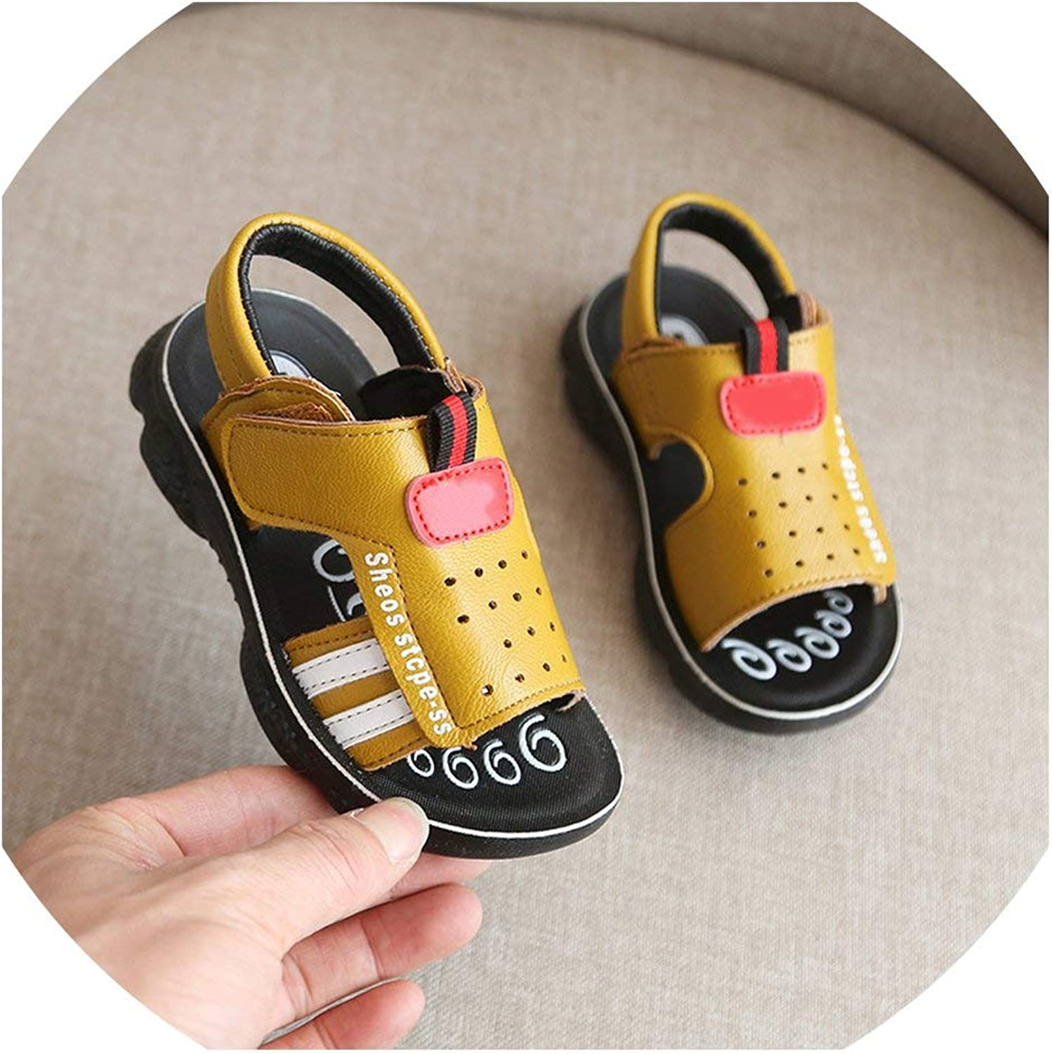 Boys Sandals Summer Toddler Kids Sandals Orthopedic Pu Leather Childrens Shoes for Boys Flat Size 21-31,Yellow,10.5