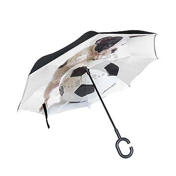 ALAZA francés Bulldog cachorro fútbol DORTMUND paraguas paraguas plegable de doble capa resistente al viento Reverse