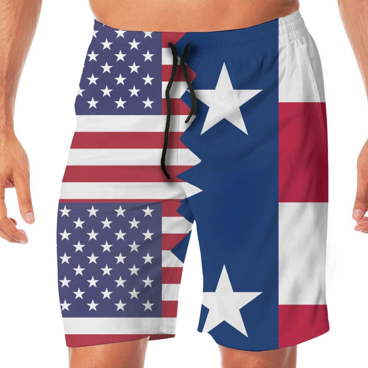 YGE.I.L25 Men Athletic Shorts American Texas Flag Lightweight Beach Board Short Adults Boys