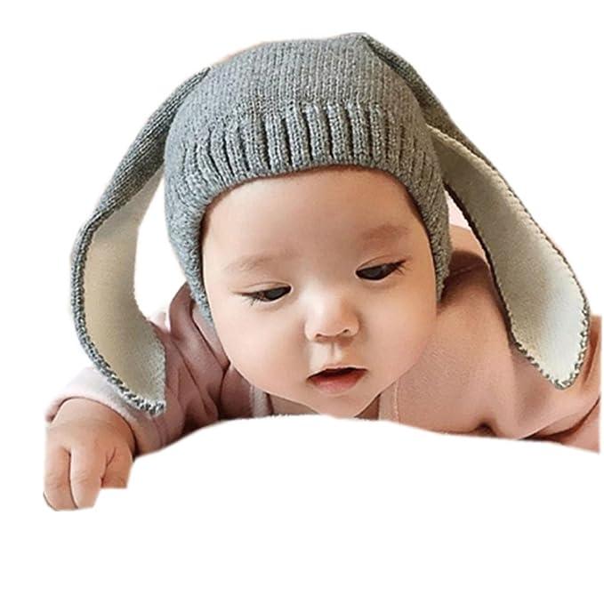 Gorras para bebé, Dragon868 Crochet de punto de conejo oreja invierno caliente gorras para bebé (Gris): Amazon.es: Ropa y accesorios
