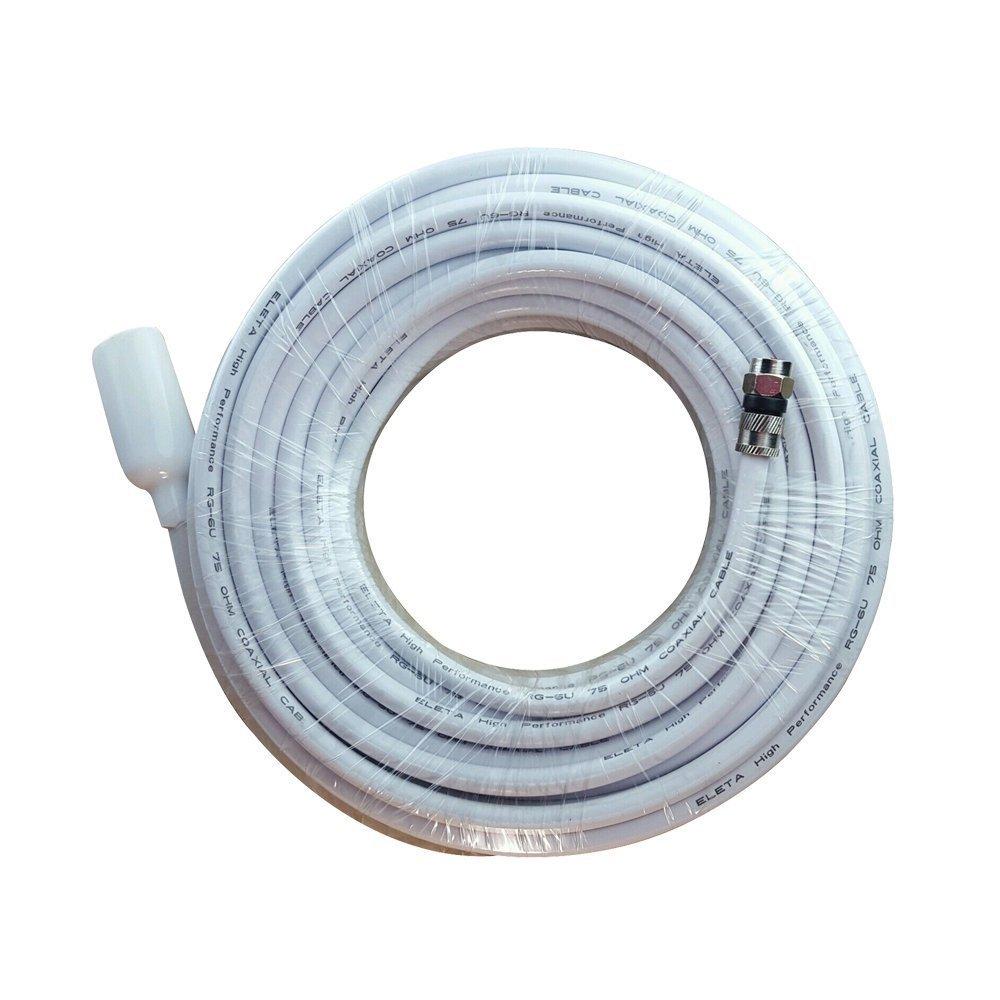 fowod RG6 Cable Coaxial de TV Color Blanco, 25 pies, con conector F conectores, doble apantallado, alto rendimiento, uso interior y exterior, para cable, ...