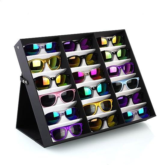 PRASACCO Caja para Gafas de Sol, Organizador Cuero PU para Gafas ...