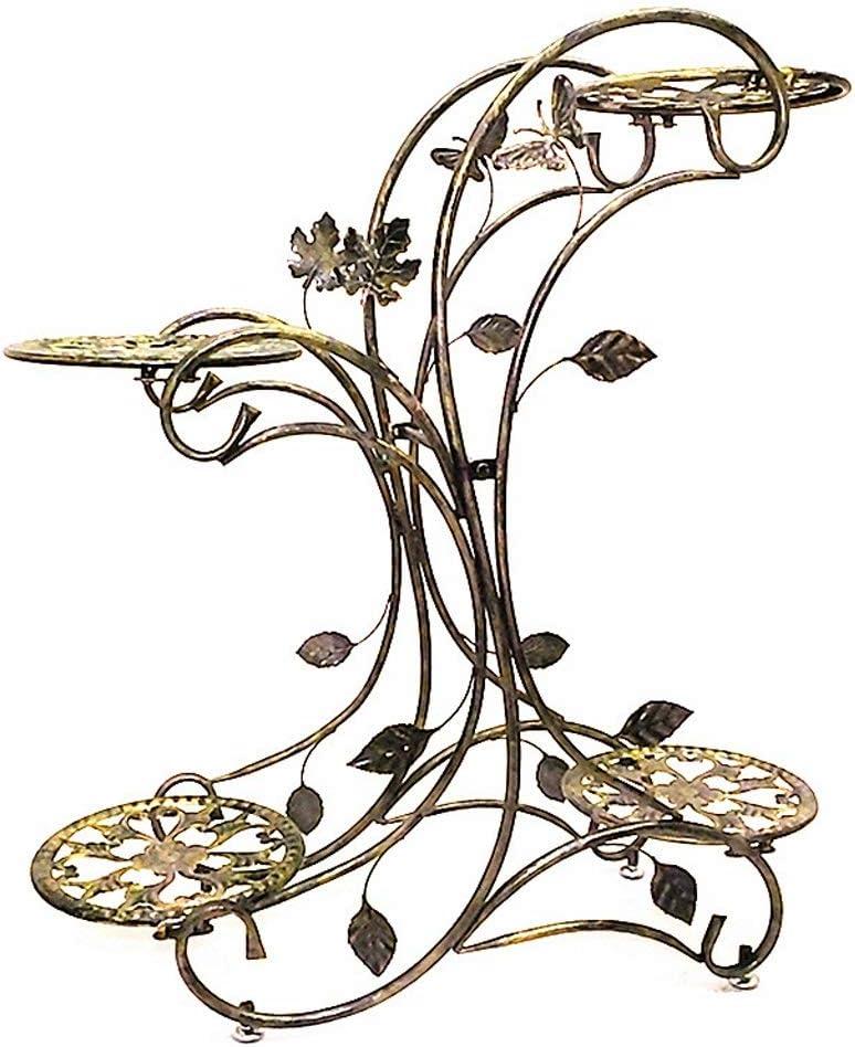 IUYWL Metall, Blume Mehrschichtige, Mehrschichtige Fußboden Platziert Innen Blumen, Pflanzen Rack Wohnzimmerboden Blumenstand (Color : A)