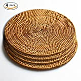 Trivets for Hot Dishes-Insulated Hot Pads,Durable Pot holder for Table,Coasters, Pots, Pans & Teapots,Natural Rattan Heat Resistant Mats for Kitchen,Set of 4, 7.08'' Round