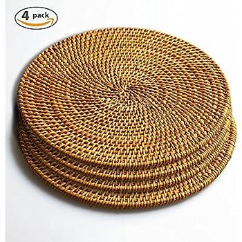Amazon Com 12 Hawaiian Luau Round Raffia Fringe Placemats