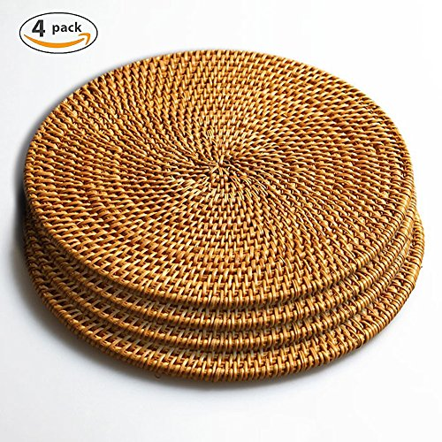 Hand Woven Rattan Trivets Pot Holder,Non Slip Weave Placemats,Durable Round Mats, Heat Resistant Hot Pads Perfect Modern Home Decor Heat Resistant Coasters Cup Insulation Mat (4Piece, 7.08 inch) (Chargers Wicker Square)