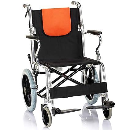YUFI Silla de ruedas, aleación de aluminio plegable plegables luz trasera plegable portátil vieja silla
