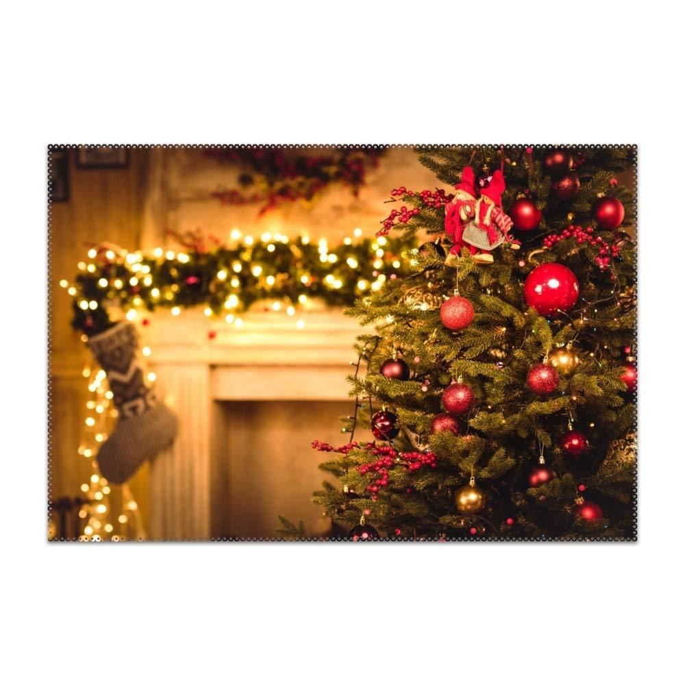 BYUII クリスマス レッドツリー テーブルマット プレースマット ノンスリップ 洗濯可能 プレースマット 耐熱性 キッチンテーブルマット ダイニングテーブル用 6 pcs 180511N_3799640 6 pcs Christmas Fir-tree Fireplace3 B07KD79QB5