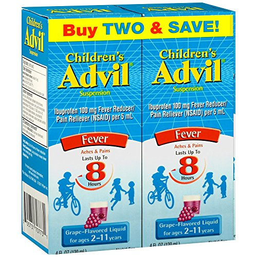 Children's Advil Suspension 100mg Ibuprofen Fever Reducer/Pain Reliever, Grape-Flavored, 4 fl oz (Pack of 2)