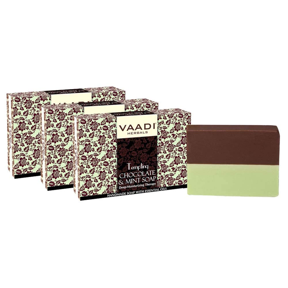 Chocolate and Mint Bar Soap - Deep Moisturising Therapy - Handmade Herbal Soap with 100% Pure Essential Oils - ALL Natural - Each 2.65 Oz - Pack of 3 (8 Oz) - Vaadi Herbals