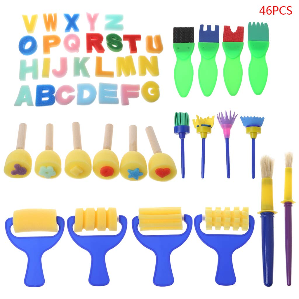 Set Spazzole per pennelli Lavabili in Spugna Set per Bambini Bambini Toddler Early Education Toys Art Supplies Gifts CARRYKT 46PCS