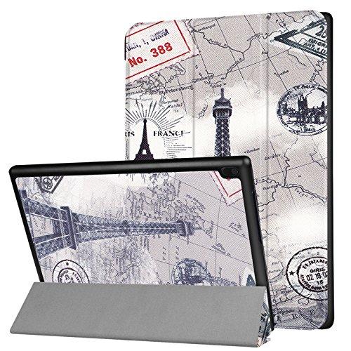 Folio Case for Lenovo Tab 4 10 2017 (TB-X304F/ TB-X304N), UUcovers Slim Ligntweignt Smart PU Leather Tri-fold Shell Multi-Angle Standing Folio Shockproof Cover with Auto Sleep/Wake, Gray Eiffel Tower]()