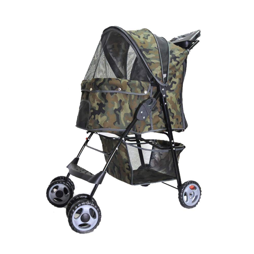 Camouflage WYYZSS Dog Cat Pet Stroller,4 Wheel Dog Cage Stroller, Reversible Handle Bar, Pet Travel Folding Carrier, Strolling Cart, Strong and Stable,for Medium Pets