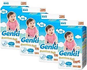 Nepia Genki Premium Soft Tape M64, M, 256 count (Pack of 4)