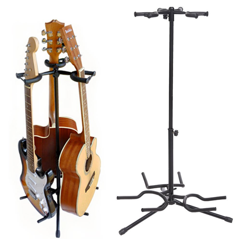 Coocheer Triple Guitar Stand- Tripod Adjustable Multiple Guitar Stand for Acoustic Guitar, Classic Guitar, Electric Guitar