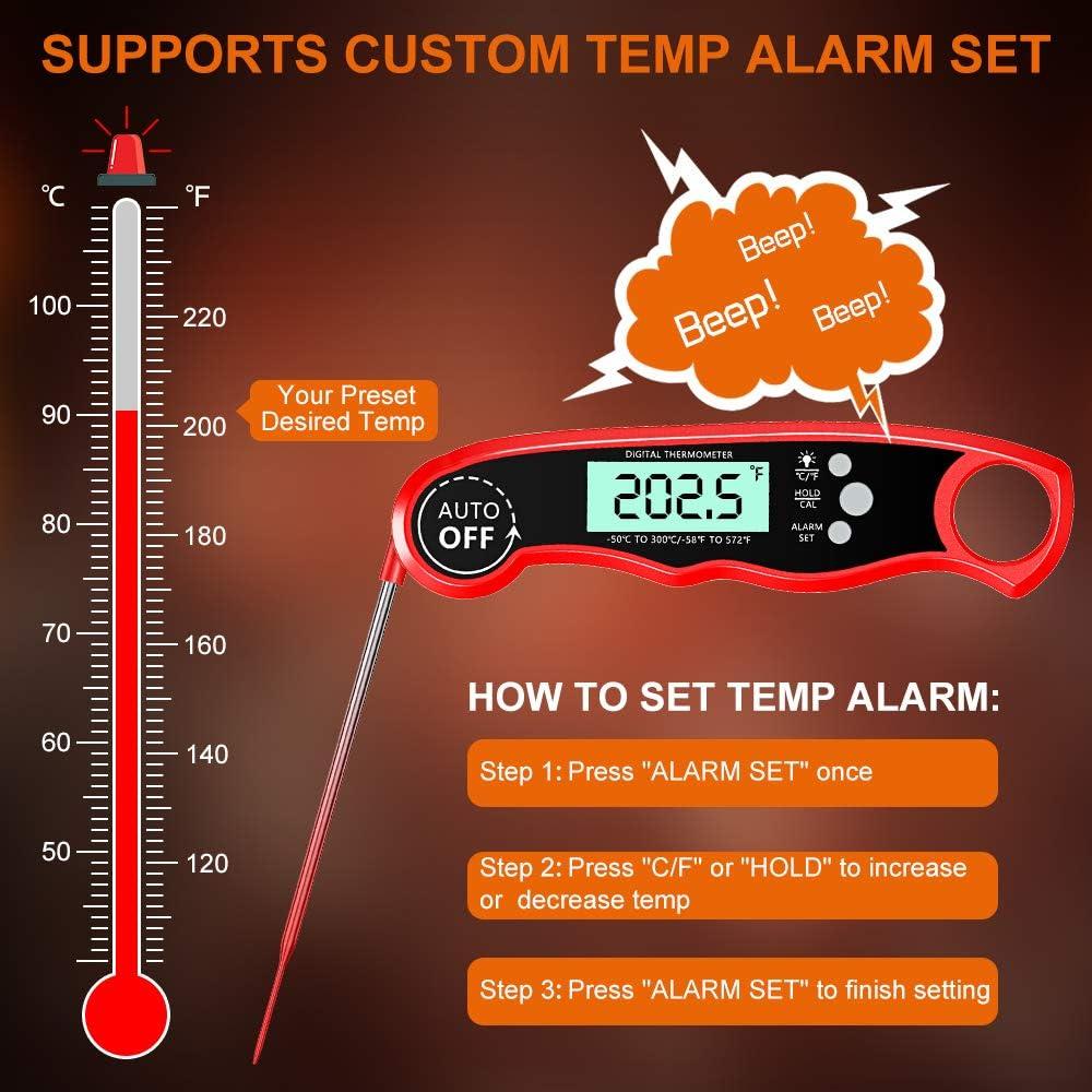 Cocoda Fleischthermometer Grillthermometer Temperatur Voreinstellung f/ür K/üche Grillen Ofen Smoker /Öl LCD Digitales Bratenthermometer K/üchenthermometer mit 2 Edelstahlsonden /& Langem Draht /& Magnet