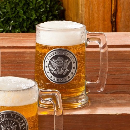 Personalized Military Emblem Beer Steins - Groomsmen, Fathers Day, Veterans Day, Men Gift