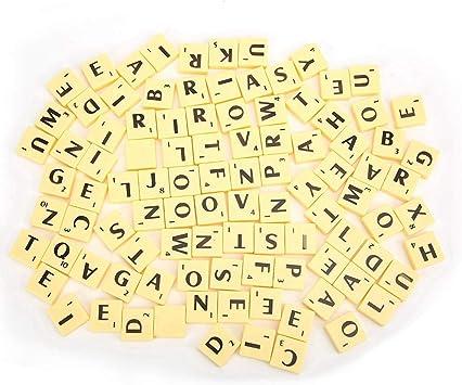 Zerodis Azulejos de Letras, Juego de Mesa Interesante Azulejos de plástico Scrabble Cartas Juego de Piezas de Juego Arte y artesanía Juguetes educativos Vintage para niños: Amazon.es: Juguetes y juegos