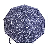 Portable 3 Fold Auto Open Umbrella with Blue and White Porcelain Pattern (Blue)