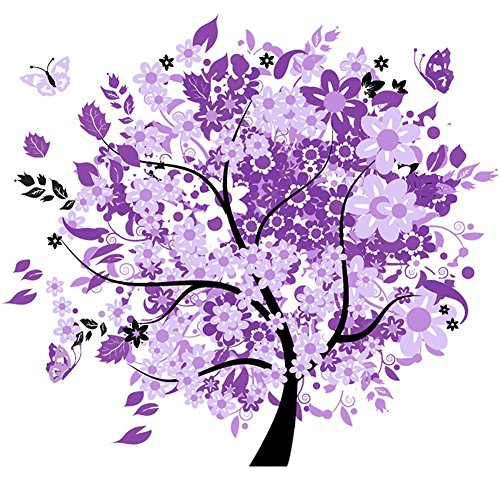 Painting Violet (KAYI 5D Diamond Painting Elegant Violet Tree Full-drilled Rhinestone Hand Craft Painting Home Decor)