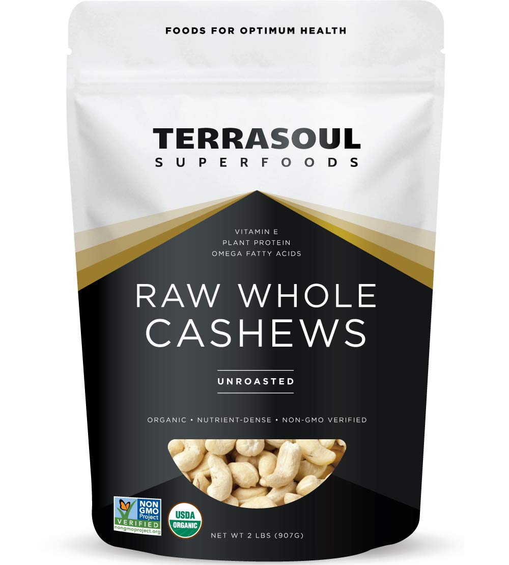 Terrasoul Superfoods Organic Raw Whole Cashews, 32 oz./2lb 61782BPVlKhL
