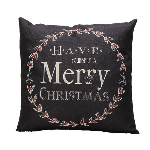 Almohada de mezcla de algodón y lino, Subfamily® Carta de Navidad Sofá Cama Decoración