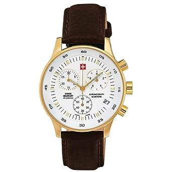 Swiss military Mens Analog Quartz Watch with Leather Bracelet SM30052.05