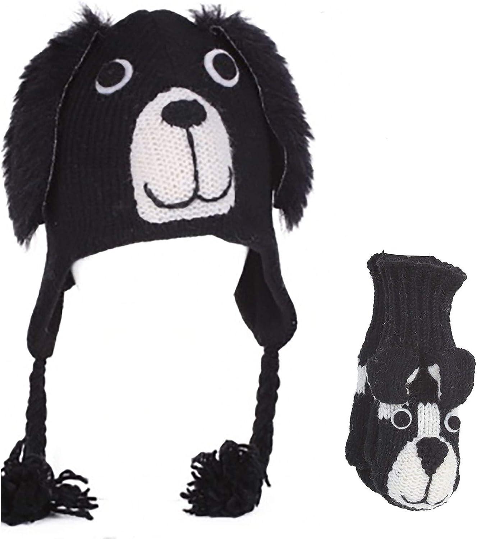 Pachamama Kids 100/% Wool Black Dog Beanie /& Mittens Set