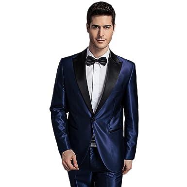 Mens Royal Blue 2-Piece Tuxedo One Button Dress Suit at Amazon ...