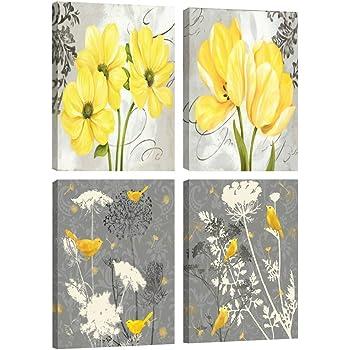 Amazon.com: Gray Yellow Flower Floral Canvas Wall Art Modern Prints ...
